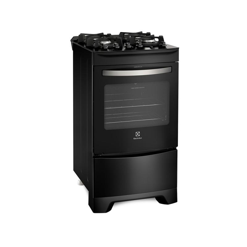 Fogão Electrolux 4 Bocas Automático com Mesa de Vidro e Porta Full Glass Preto 52LPV Bivolt