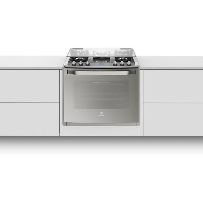 Fogão Electrolux 5 Bocas de Embutir Automático com Mesa de Vidro e Grill Prata 76EXV 220V