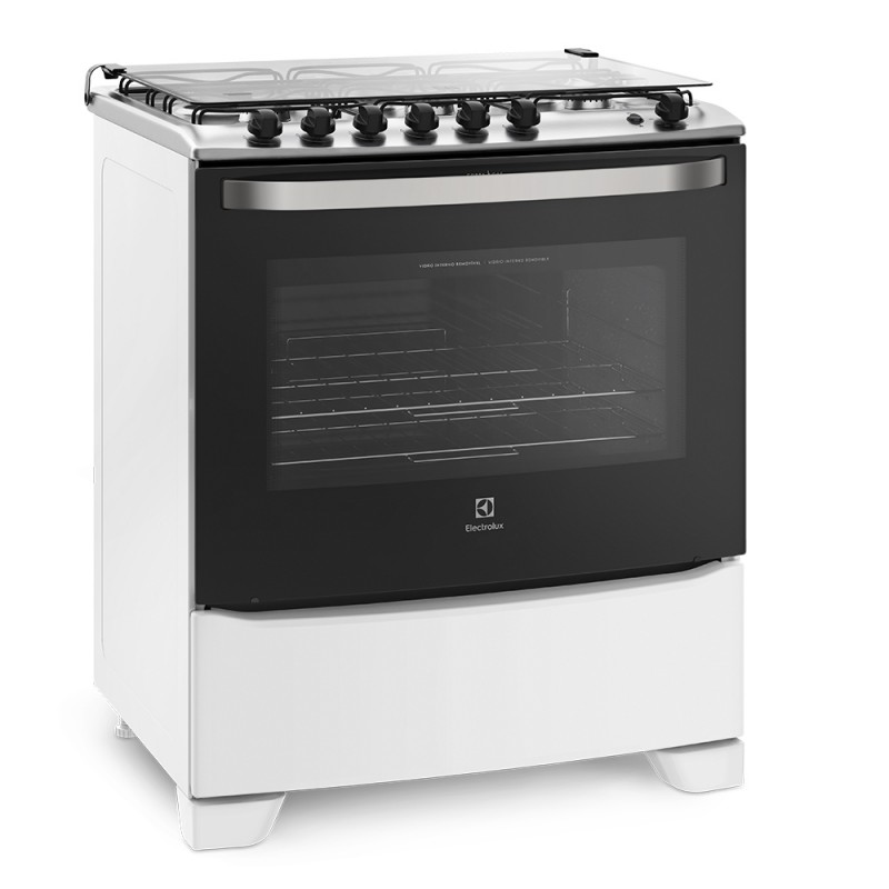 Fogão Electrolux 6 Bocas Automático com Porta Full Glass Branco 76UB6 Bivolt