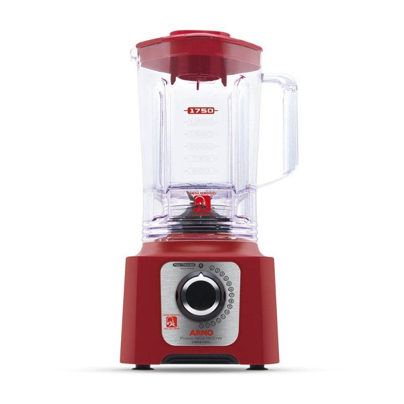 Liquidificador Arno Power Max 1400 15 Velocidades Jarra San Cristal 3,1L Vermelho 220V