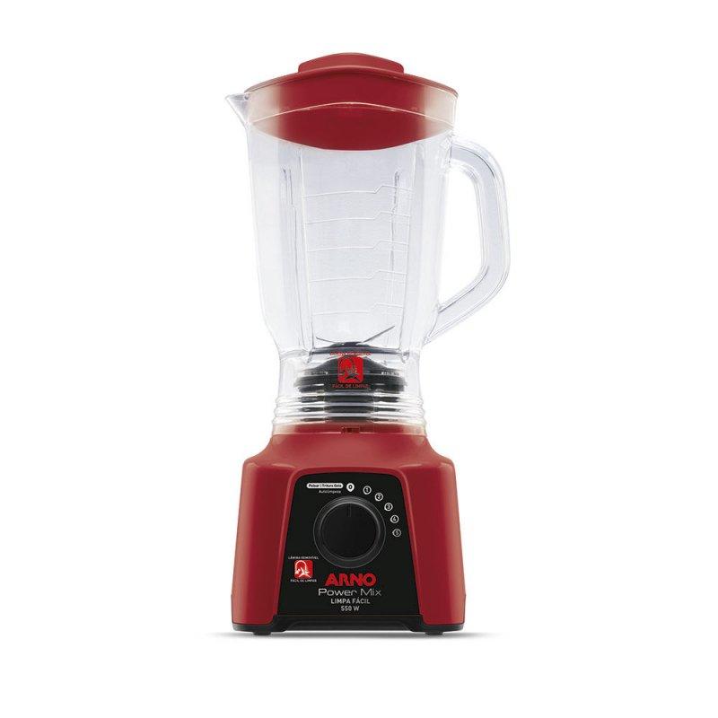 Liquidificador Power Mix Limpa Fácil 5 Velocidades Jarra San Crystal 550W Vermelho 127V