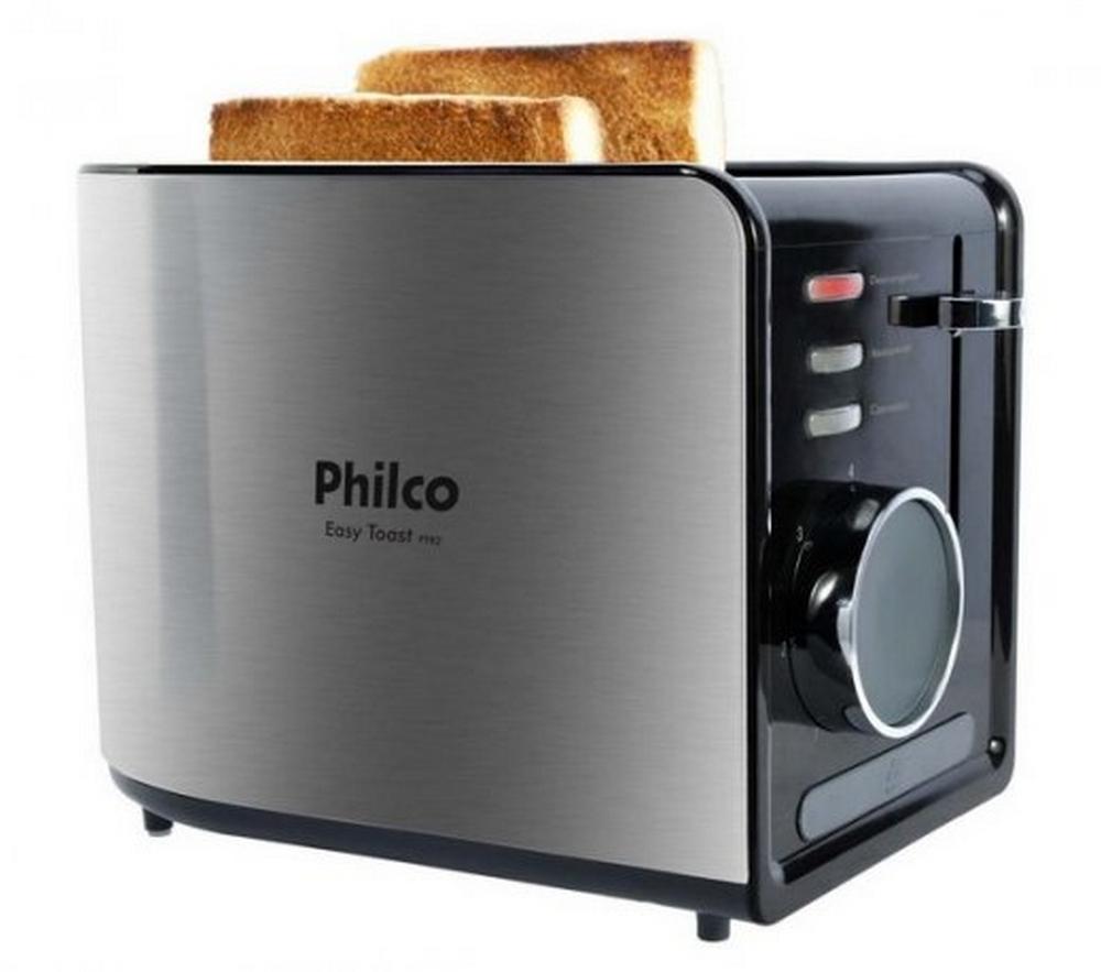 Torradeira Philco Easy Toast PTR2 / Preto Inox / 850W / 7 Níveis de Tostagem / 2 Torradas / 220V