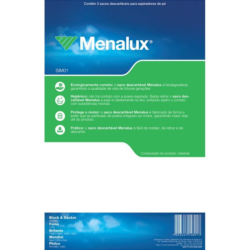 Kit com 3 Sacos Descartáveis Menalux para Aspirador de Pó (SIM01)
