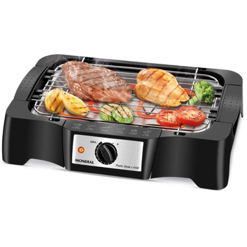 Churrasqueira Elétrica Mondial Pratc Steak E Grill Preta CH 07 220V