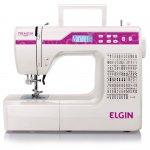 Máquina de Costura Portátil Elgin Premium JX-10000 Bivolt Branca e Rosa para Uso Doméstico