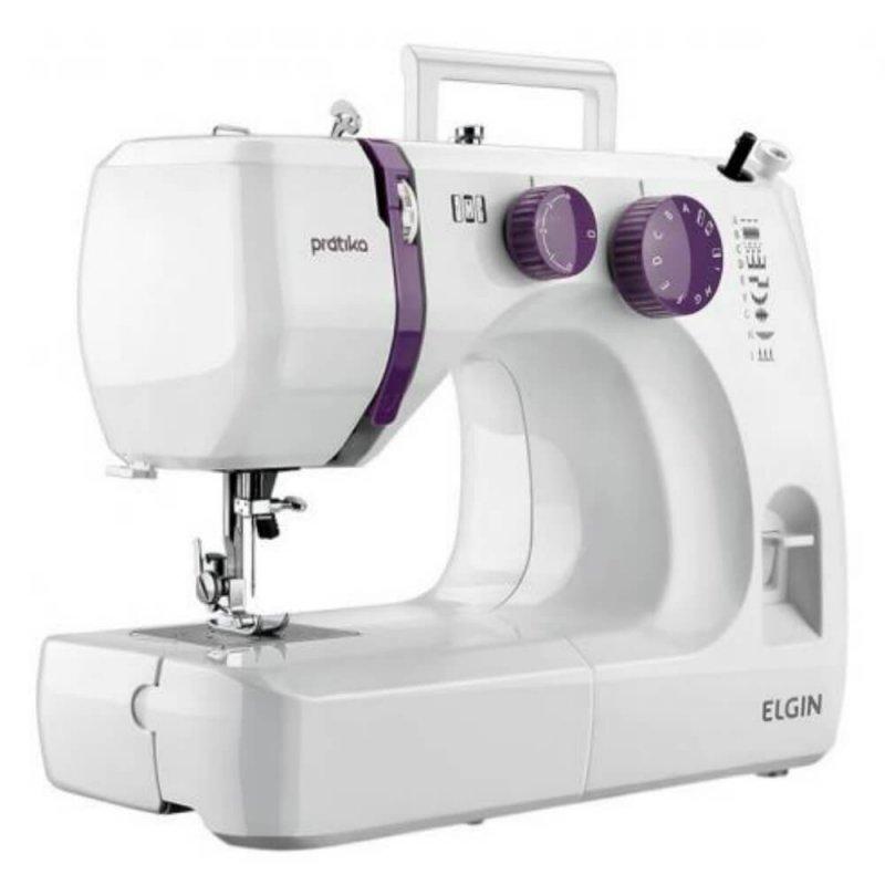 Máquina de Costura Portátil Elgin Prátika JX-2051 127V Branca e Roxo para Uso Doméstico