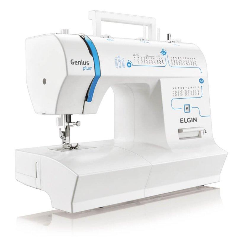 Máquina de Costura Portátil Elgin Genius Plus JX-4035 127V Branca e Azul para Uso Doméstico