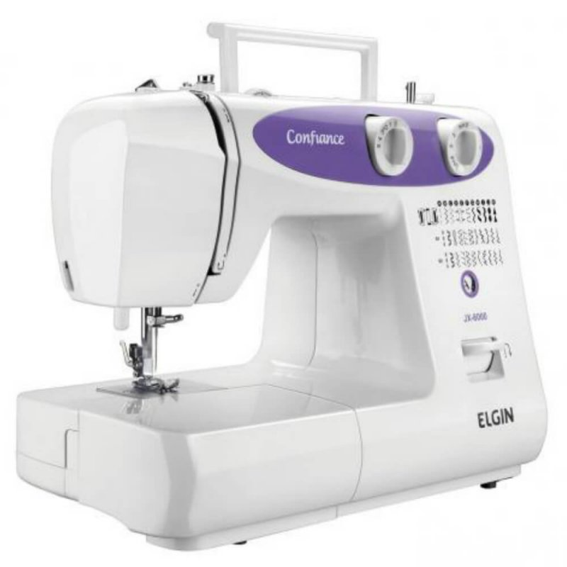 Máquina de Costura Portátil Elgin Confiance JX-6000 220V Branca e Lilás para Uso Doméstico