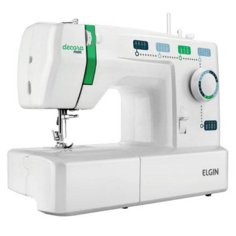Máquina de Costura Portátil Elgin Decora Mais JX-2011 127V Branca e Verde para Uso Doméstico
