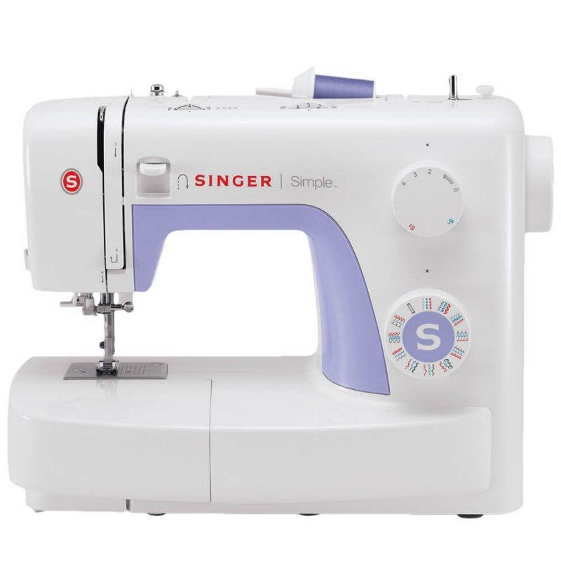 Máquina de Costura Portátil Singer Simple 3232 127V Branca e Lilás para Uso Doméstico