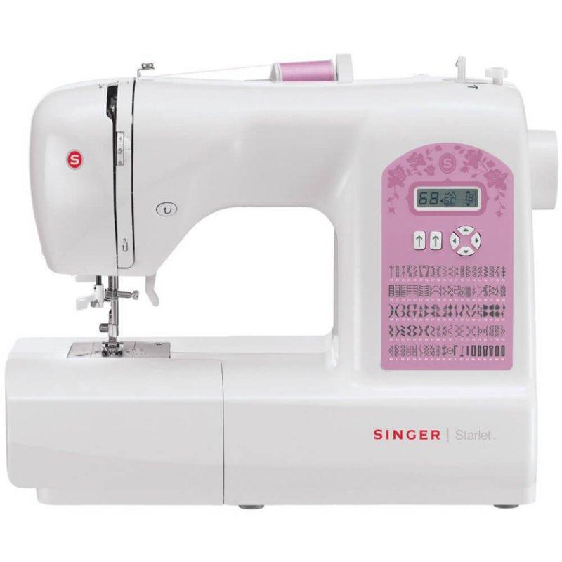 Máquina de Costura Portátil Singer Starlet 6699 127V Branca e Rosa para Uso Doméstico