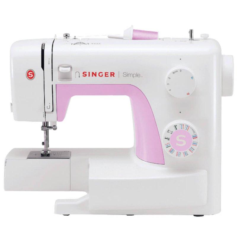 Máquina de Costura Portátil Singer Simple 3223 220V Branca e Rosa para Uso Doméstico