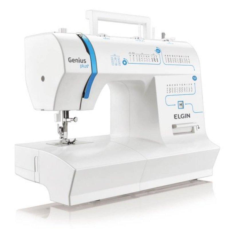 Máquina de Costura Portátil Elgin Genius Plus JX-4035 220V Branca e Azul para Uso Doméstico