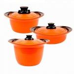 Conjunto de Caçarolas Roichen Premium Pot Laranja com Revestimento e Tampa de Cerâmica 3 Peças