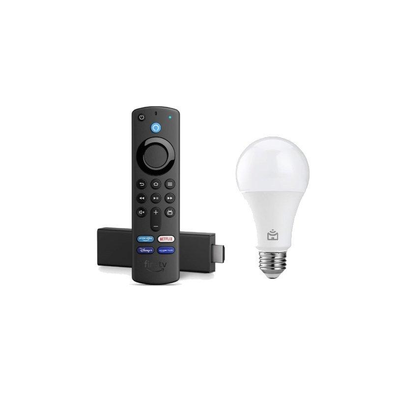 Combo Fire TV Stick 4K com Controle Remoto por Voz e Smart Lampada RGB