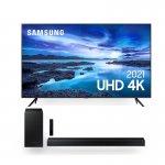 Combo Samsung Smart TV 70 UHD 4K 70AU7700 e Soundbar Samsung HW-T450 2.1 Canais