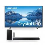Combo Samsung Smart TV 75 Crystal UHD 4K 75AU8000 e Soundbar Samsung HW-T450 2.1 Canais