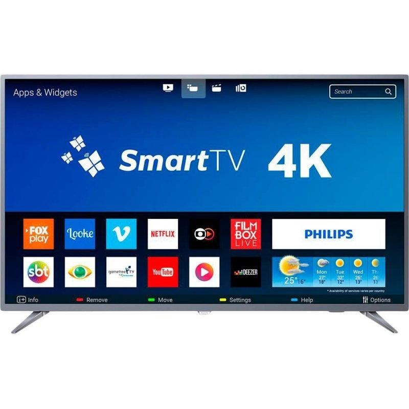 """Smart TV LED 58"""" Philips 58PUG6513/78 Ultra Slim Ultra HD 4k Wi-fi 3 HDMI 2 USB Prata"""