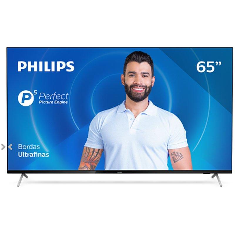 Smart TV Philips 65 65PUG7625/78 4K UHD P5 HDR10 Bluetooth WiFi 3 HDMI 2 USB Bordas Ultrafinas Pto