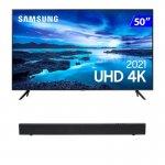 Combo Smart TV Samsung 50 UHD 50AU7700 4K e Soundbar JBL Cinema SB110 2.0 Canais HDMI Bluetooth