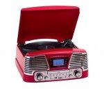 Toca DiscoVintage Anos 50 CTX Harmony com 3 velocidades FM, CD Player, USB, SD Card, Gravação Verm