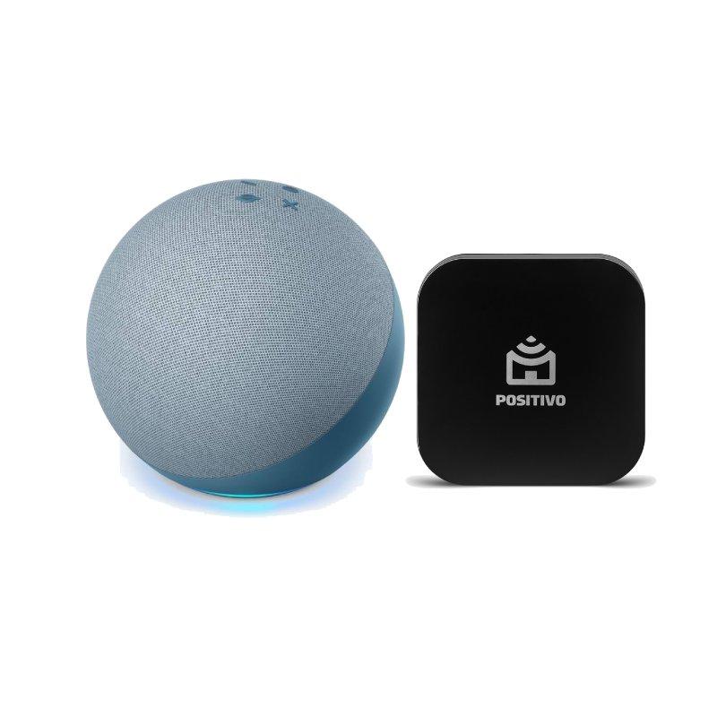 Combo Echo Amazon Smart Speaker Alexa 4a Geração Azul e Positivo Smart Controle Universal
