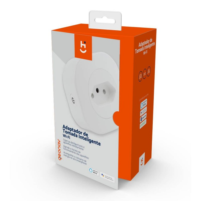 Adaptador Geonav de Tomada Inteligente Hi Wi-Fi 10A Bivolt Branco