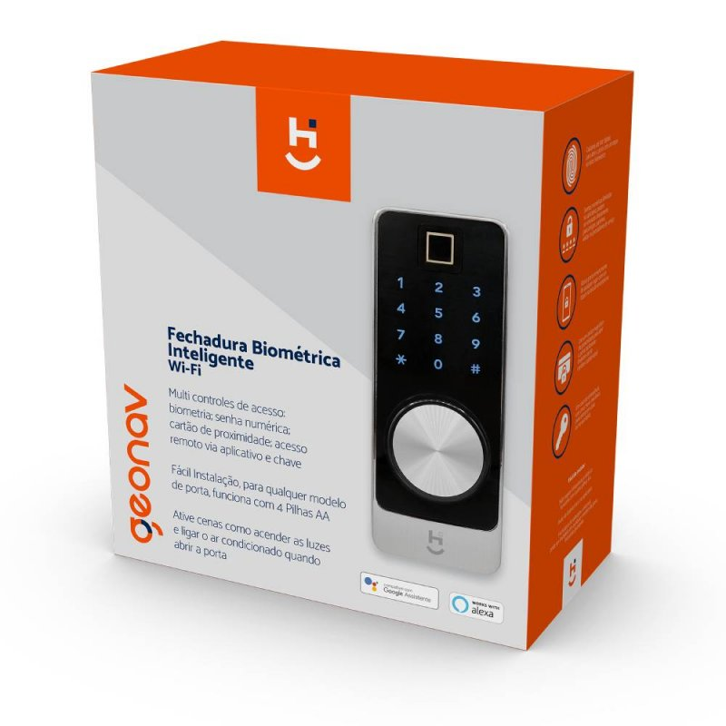Fechadura Geonav Inteligente Wifi com Biometria Prata e Preto