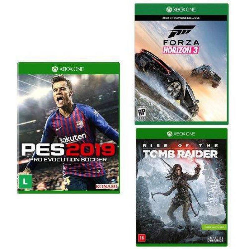 Kit com 3 Jogos Xbox PES 2019 e Forza Horizon 3 e Rise of the Tomb Raider
