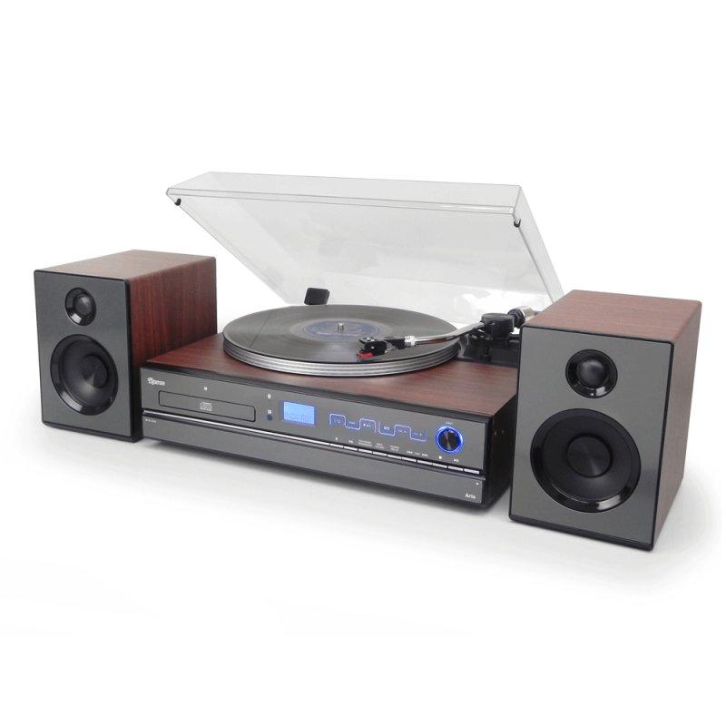 Toca Discos Raveo Aria Madeira Bivolt com 2 Velocidades Bluetooth USB Rádio FM CD Player e Gravação
