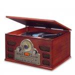 Toca Discos Raveo Tenor Madeira Bivolt Bluetooth USB e SD Rádio FM CD Player e Gravação