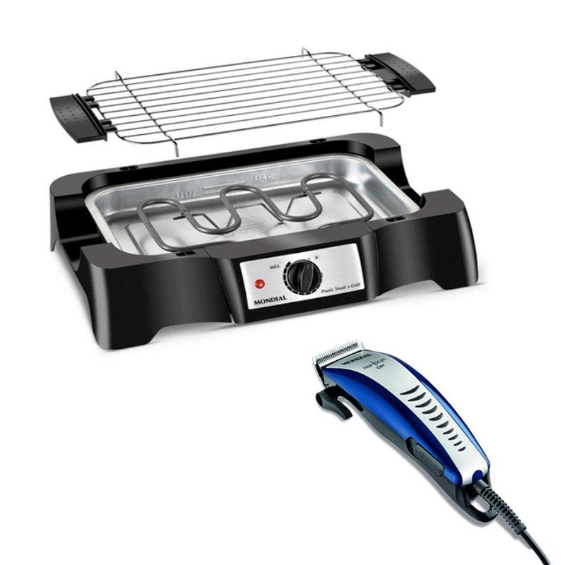 Combo Churrasqueira Eletrica Pratic Steak e Grill Mondial CH07 127V e Cortador de Cabelos Hair Stylo