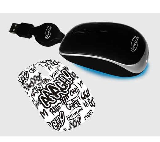 Mini Mouse Newlink Shiny / Retrátil / 1000dpi / Preto