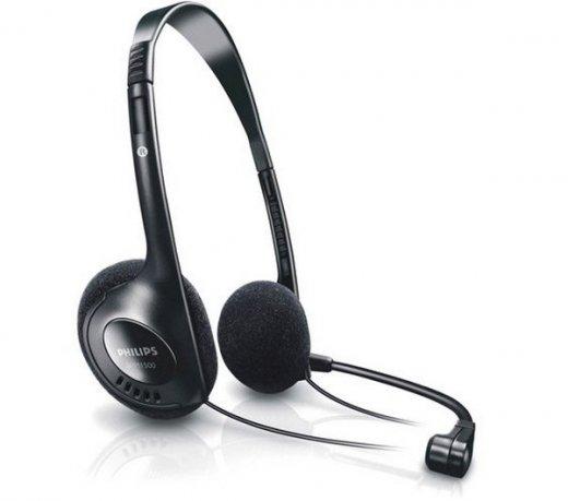 Headset Philips SHM1500 / Haste Rotativa / Com Microfone / Preto