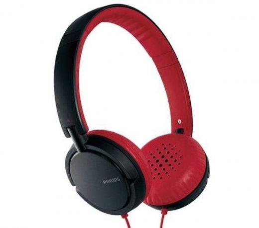 Headset Philips SHL5000 / Alça Retrátil / Dobrável / Isolamento Acústico / Preto e Vermelho