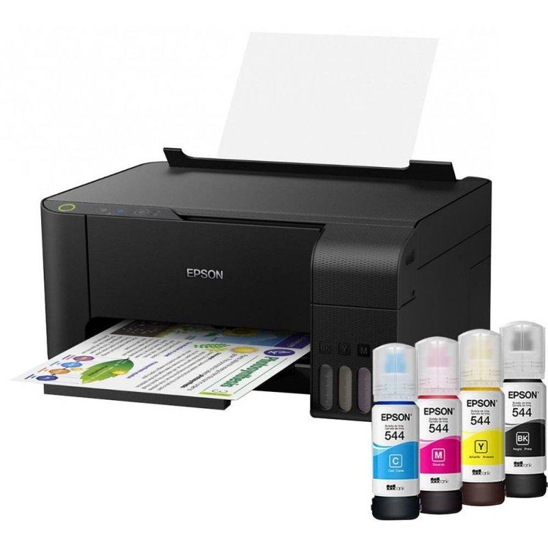 Impressora Epson Tanque de Tinta EcoTank L3110 Colorida USB Imprime Copia e Digitaliza