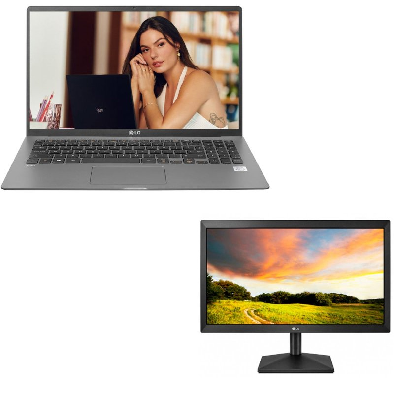 Combo Notebook LG Gram 14 14Z90N IntelCoreI5 8GB & Monitor LG LED 19.5