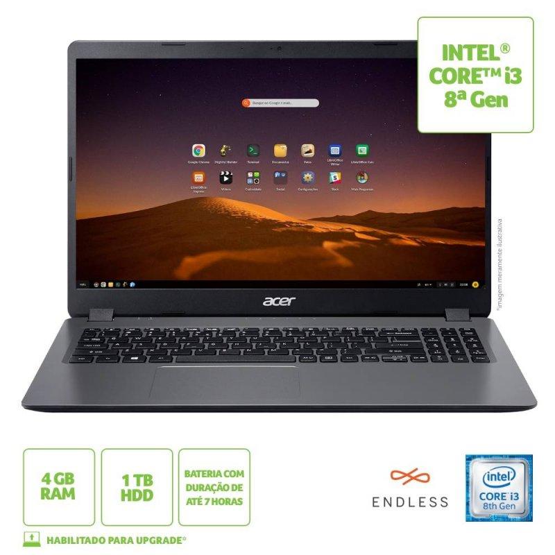 Notebook Acer Aspire 3 15,6 A315-54K-310A Intel Core i3 4GB Ram 1TB HD Endless OS cinza