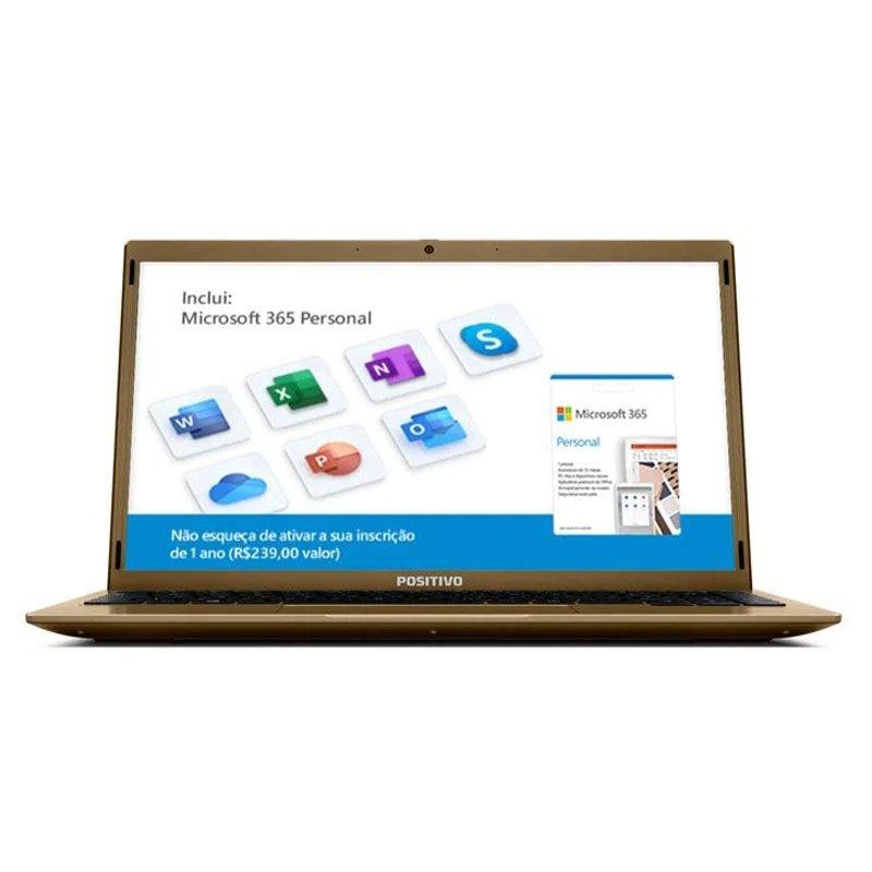 Notebook Positivo Motion Q4128C Intel Atom Quad Core Windows 10 Home Dourado