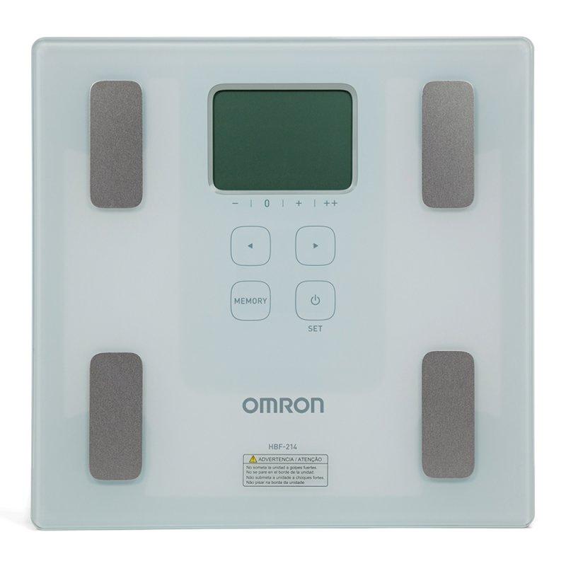 Balança de Controle Corporal Omron HBF-214 Até 150kg Branca e Prata