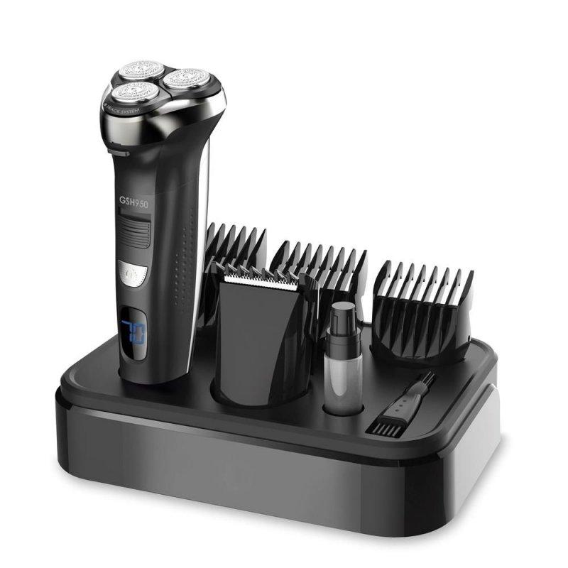 Barbeador Elétrico Gama Italy GSH950 W&D LCD 3 Lâminas Rotativas 4 Pentes Prova de água Bivolt Preto