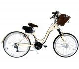 Bicicleta Elétrica Evolubike Dea / Motor de 250W / Com Cesto / Creme / Bivolt