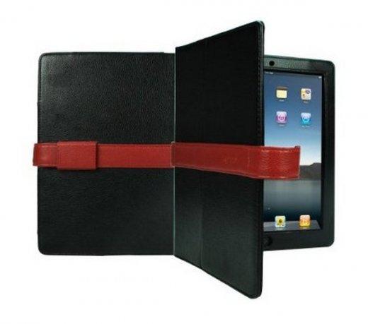 Capa Protetora Cygnett Para iPad / Em Couro / Preta com Acabamento Vermelho