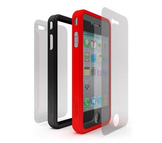 Kit com 2 Molduras Protetoras Cygnett / iPhone 4 / Em Silicone / Vermelha e Preta