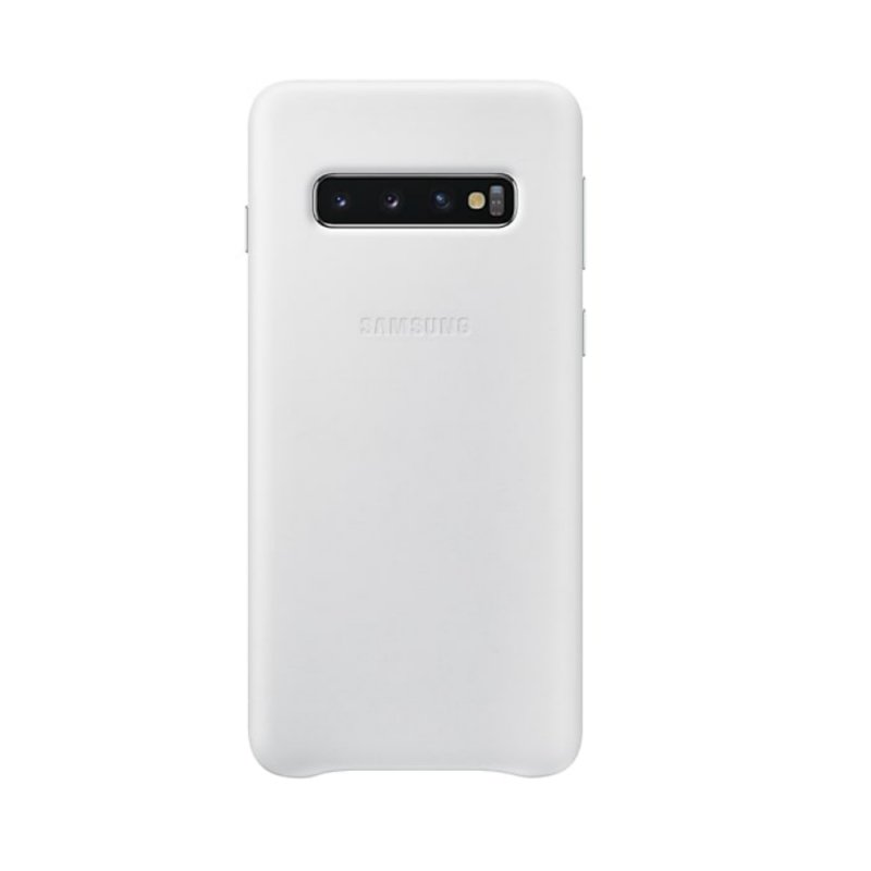 Capa Protetora de Couro Samsung S10 Plus Branca