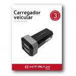 Carregador Veicular Duplo USB Xtrax