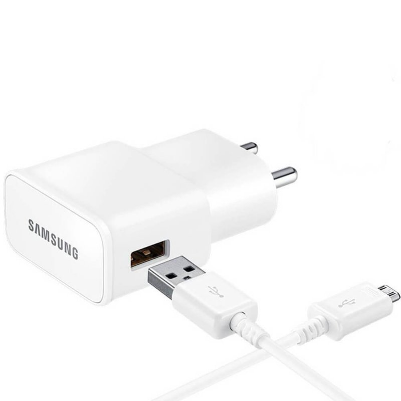 Carregador de Viagem Samsung Bivolt micro USB Ultra Rápido Branco e Adaptador Samsung micro USB-C