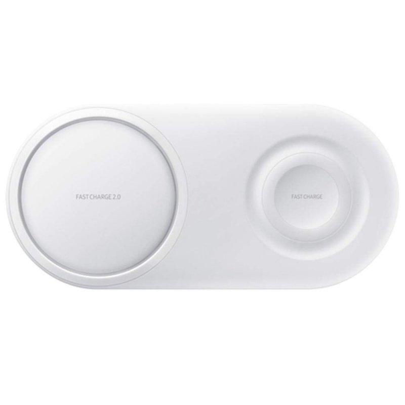 Carregador Rápido Sem Fio Duplo Pad Samsung Branco
