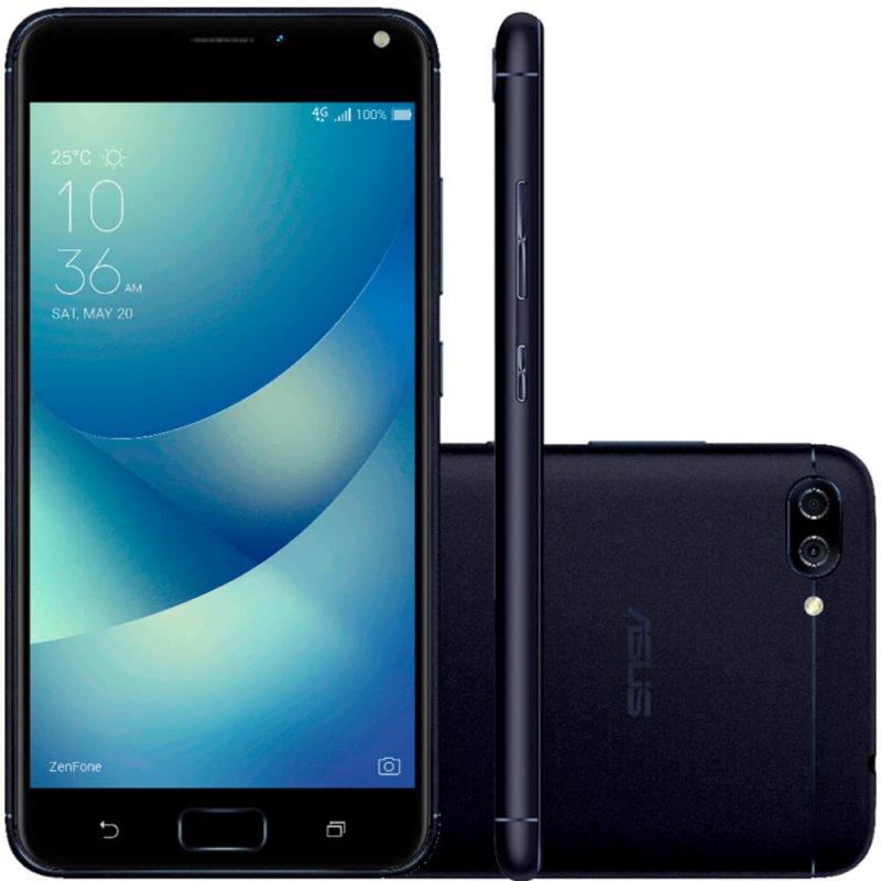 Smartphone Asus Zenfone 4 Max Preto ZC554 DualChip 16GB Tela de 5.5 4G Câmera Dual 13MP