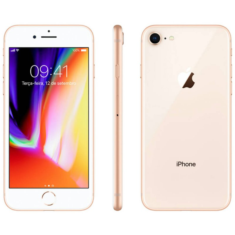 Iphone 8 Apple 64gb Dourado Tela Retina Hd 4,7 Ios 11 4g e Câmera de 12 Mp